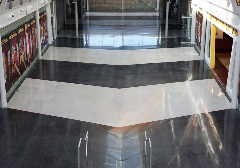 colored terrazzo floor restoration with pattern