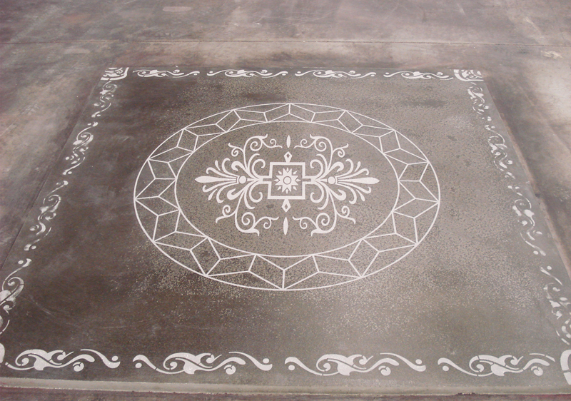 mechanically polished concrete with engraved design