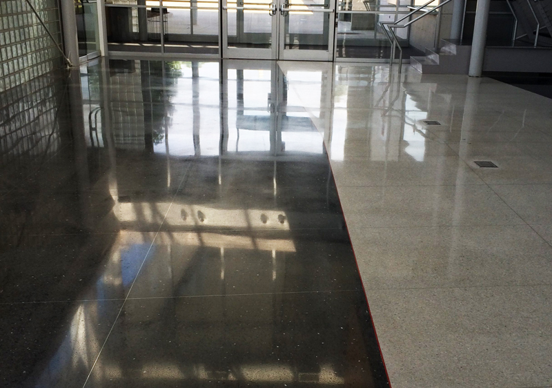 mechanically polished terrazzo restoration