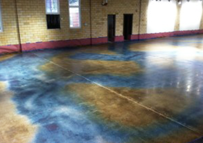 dyed mechanically polished concrete