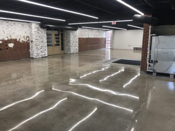 Polished concrete floors in a warehouse.